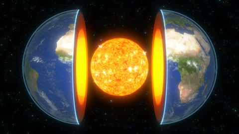 Core planet Earth in 3d style on bright starry background Universe space Global Animation