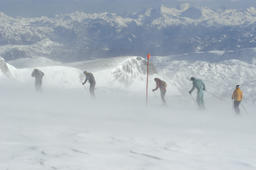 touring ski at the Dachstein storm, windy Foto