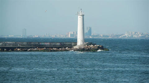 A lighthouse in the Bosphorus, Istanbul, Turkey Stock Video Footage
