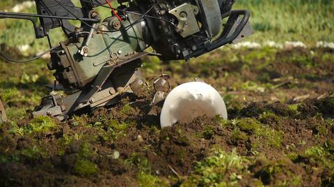 Tilling a garden with a rototiller Stock Video Footage