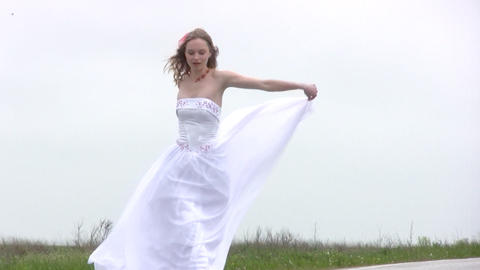 Bride comes on the road Footage