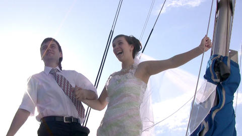 Groom, bride, yacht and sun Footage