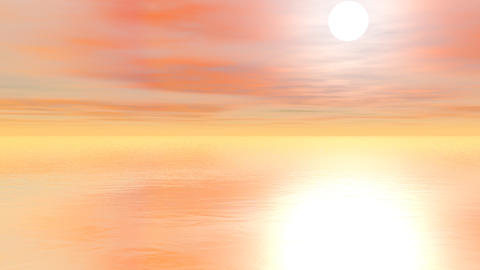 Sunset over the ocean - 3D render Stock Video Footage
