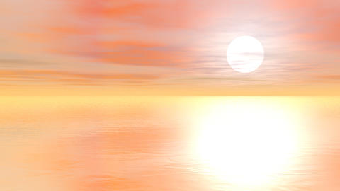 Sunset over the ocean - 3D render Animation