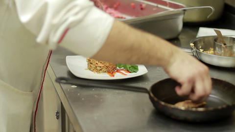 Chef Arranging Plate Food Footage