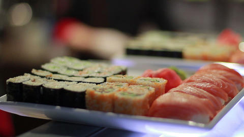 Sushi Roll On Plate Stock Video Footage