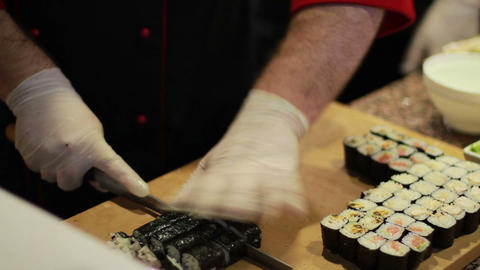 Sushi Cooking stock footage