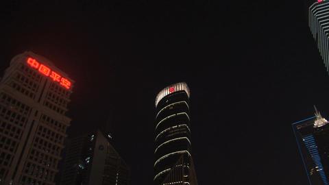 Pan Skyscrapers downtown Shanghai Stock Video Footage