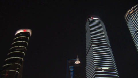 Pan Skyscrapers downtown Shanghai Footage
