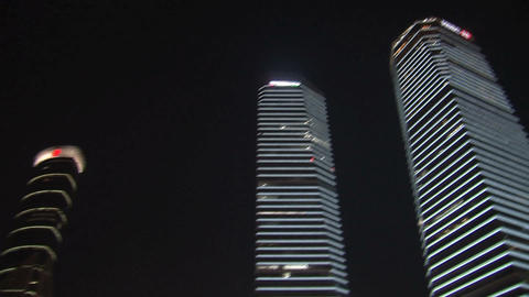 Skyscrapers pan downtown Shanghai Stock Video Footage