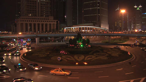 Shanghai traffic at night Stock Video Footage