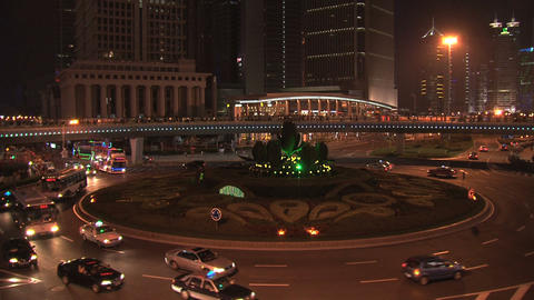 Shanghai Traffic At Night stock footage