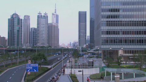 Shanghai Skyscrapers Tilt stock footage