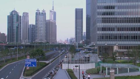 Shanghai skyscrapers tilt Stock Video Footage