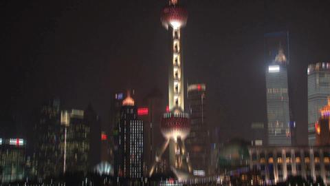 Shanghai skyline tilt Stock Video Footage
