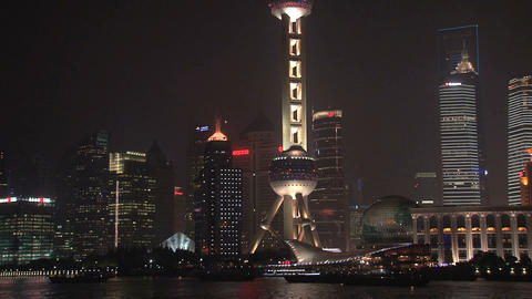 Tilt Shanghai skyline Stock Video Footage