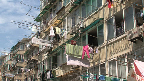 Houses downtown Shanghai Stock Video Footage
