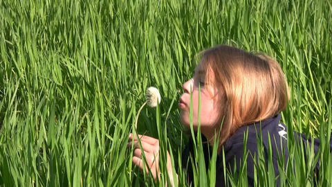 Girl, dandelion and grass Footage