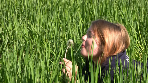 Girl, dandelion and grass Stock Video Footage