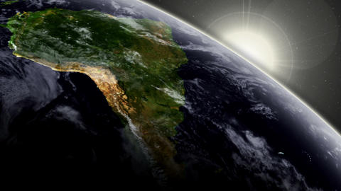 3D Satellite View Over South America Animation