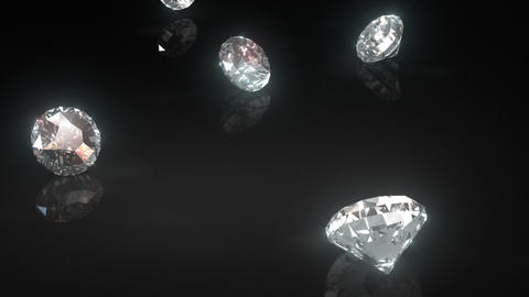 Diamonds Drop Onto Shiny Black Surface Loop stock footage