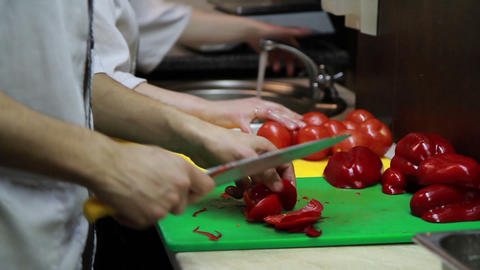 Slicing Red Pepper Close-up Stock Video Footage