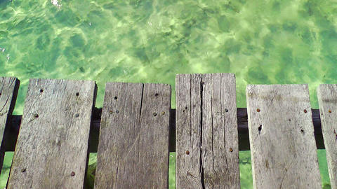 Wooden Pier and Tropical Water Stock Video Footage