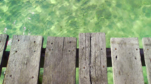 Wooden Pier and Tropical Water Footage
