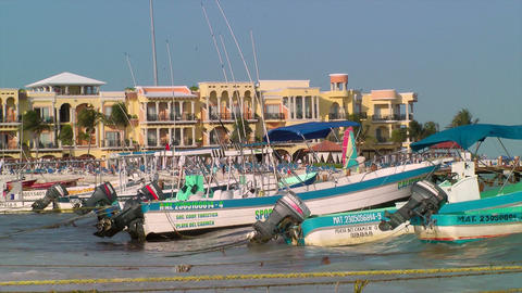Boats Anchored to Beach in Playa Del Carmen Stock Video Footage