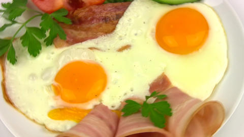 Plate with fried eggs. Close-up Stock Video Footage