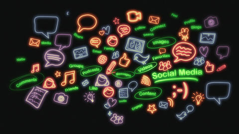 Social Media Neon Scribblings Stock Video Footage