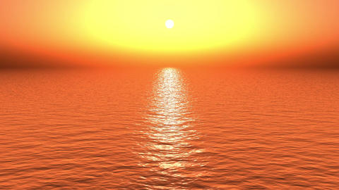 golden sun light reflecting on ocean at dusk Stock Video Footage
