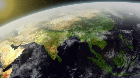 3D Satellite View Over Asia Stock Video Footage