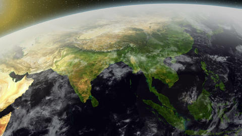 3D Satellite View Over Asia Animation