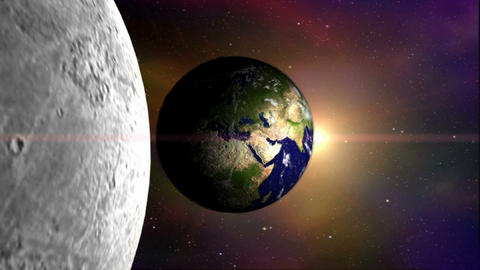 3D Satellite View of Moon And Earth Animation