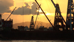container ship, sunset, harbor, Hong Kong Footage