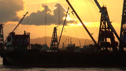 container ship, sunset, harbor, Hong Kong Stock Video Footage