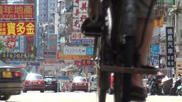 Cyclist, bus, transport, Hong Kong, city, urban Stock Video Footage