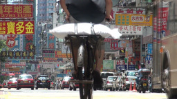 Cyclist, Bus, Transport, Hong Kong, City, Urban stock footage