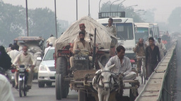 Diverse traffic on old Lahore bridge Stock Video Footage