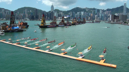 Dragon boat races, Hong Kong, skyline Stock Video Footage