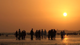 Group of people at Karachi beach at sunset Footage