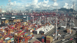 Hong Kong, container terminal, cargo, economy, Chi Stock Video Footage