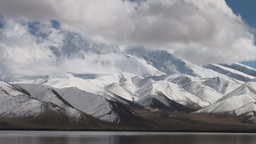 Majestic Muztagh mountain & Karakul lake Stock Video Footage