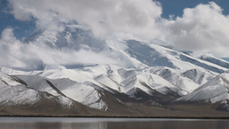 Majestic Muztagh mountain & Karakul lake Stock Video Footage