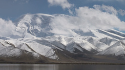 Majestic Muztagh Mountain & Karakul Lake stock footage