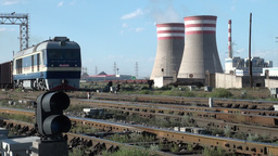 Coal fired powerplant and train in China Stock Video Footage
