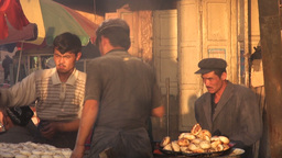 Food, fresh, prepare, workers, China, Uyghur Footage
