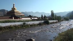 Stupa, Buddhism, river, peaceful, Tibet, China Footage