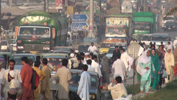 Traffic, people, busy, chaos, Pakistan, colorful Stock Video Footage